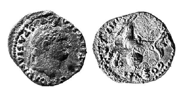 Denario de Tito hallado en Pompeya