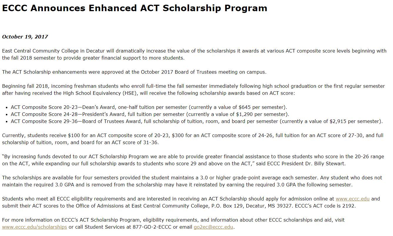 ECCC Announces Enhanced ACT Scholarship Program in USA