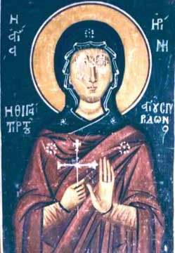 Irene, daughter of Saint Spyridon of Corfu Fresco in the Church of Panagia Assinou, Cyprus
