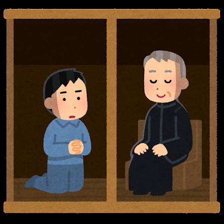 懺悔する人のイラスト(男性)