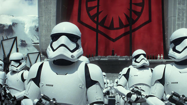 "First Order stormtroopers are shown in a scene from ""The Force Awakens."" (Film Frame / AP)"