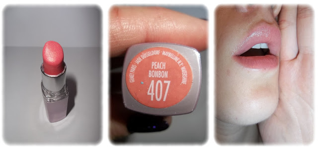 Swatch Rouge à Lèvres Watershine - Gemey Maybelline - Teinte 407 Peach Bonbon