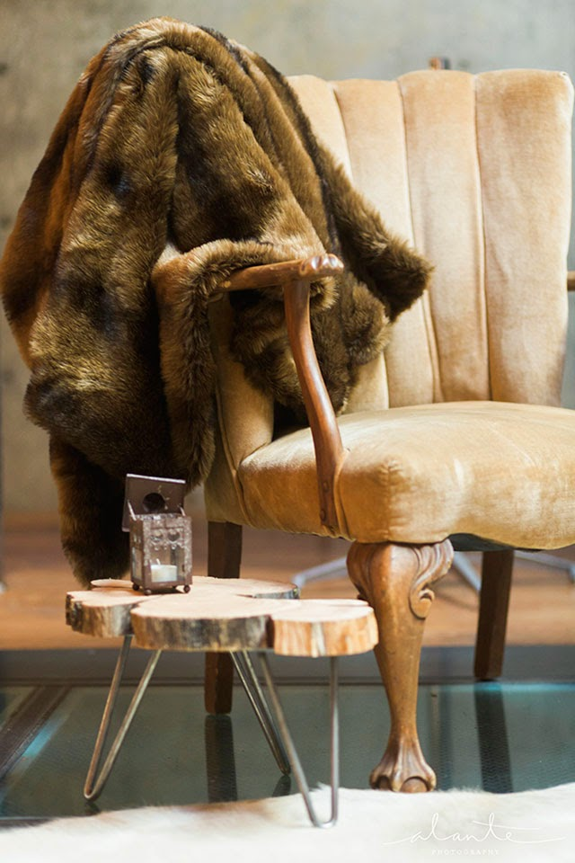 Chair with fur throw