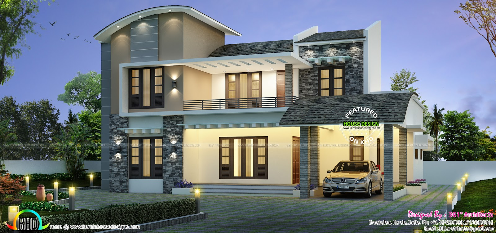 2768 Sqft Curved Roof Style 4 Bed Room House Kerala Home