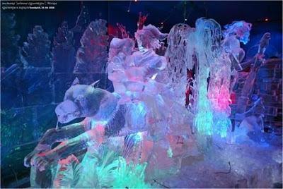 Escultura de hielo en Moscú.