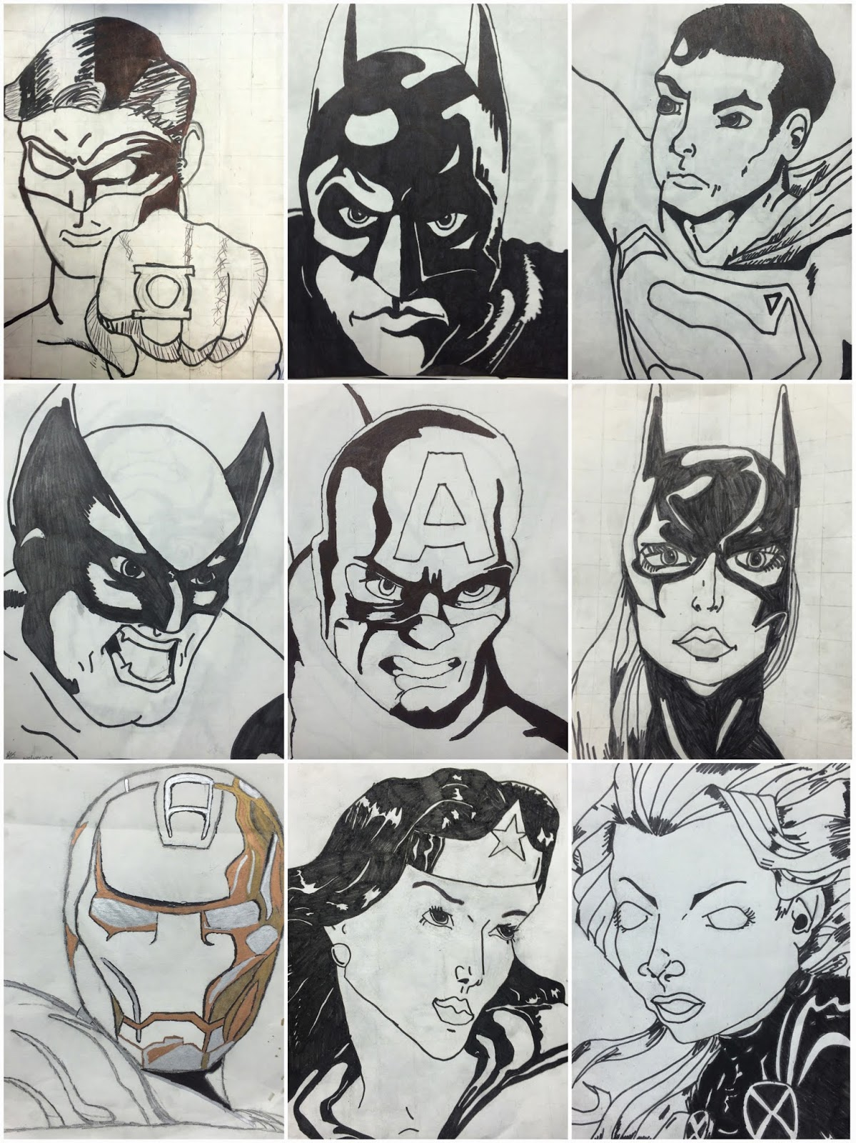 Art Eat Tie Dye Repeat 6th Grade Grid Superhero Drawings