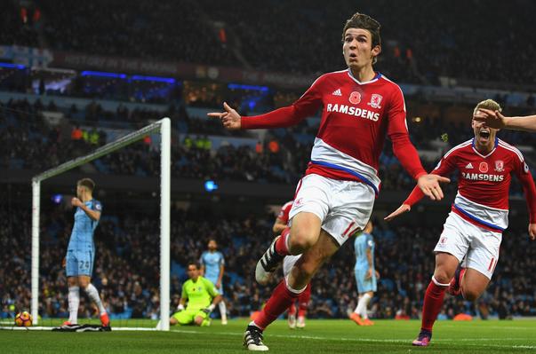 Selebrasi pemain Middlesbrough saat menyamakan skor 1-1
