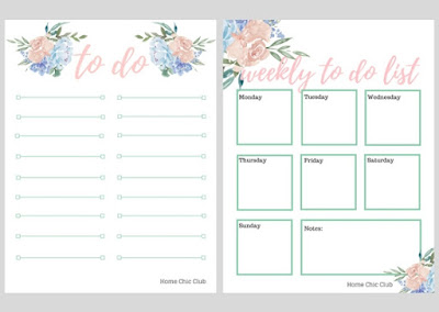 free daily and weekly to do pages