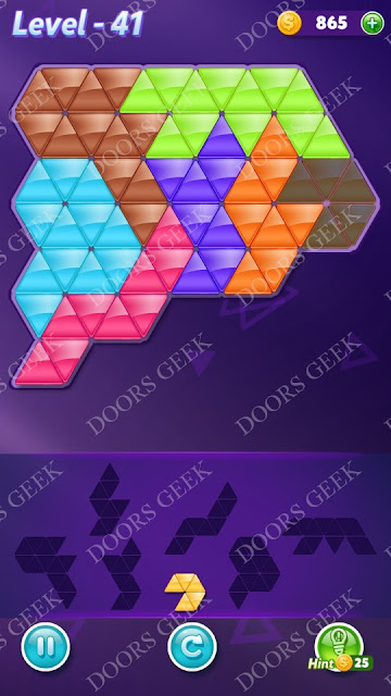 Block! Triangle Puzzle Advanced Level 41 Solution, Cheats, Walkthrough for Android, iPhone, iPad and iPod