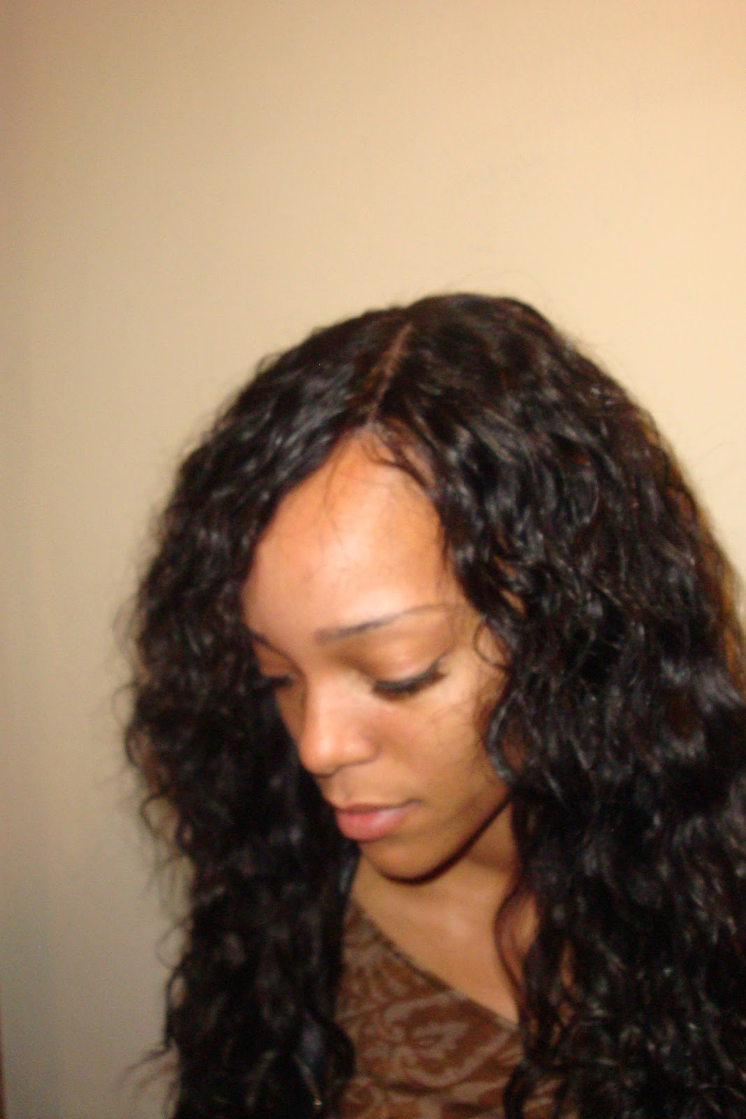 Brazilian curly hair Sewin with lace front closure piece. 1067 x 1600.Sew In Weave Bob Hairstyles With Bangs