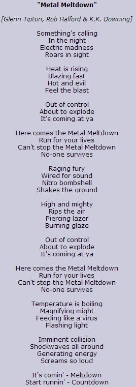 letra Metal meltdown judaspriest