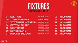 Jadwal Manchester United Desember 2016