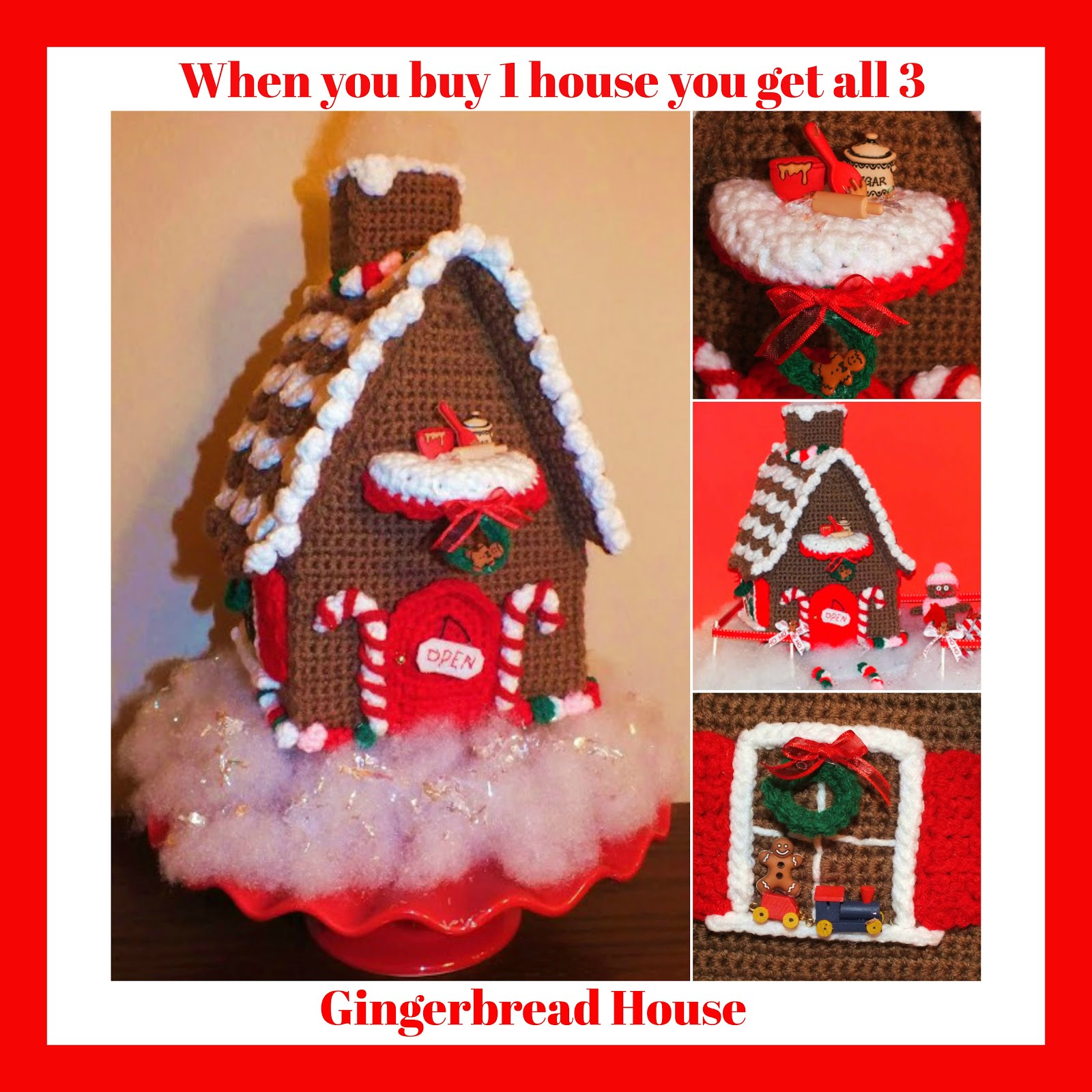 Crochet Christmas Gingerbread House Connies Portable Doll House Halloween Haunted House Patterns©