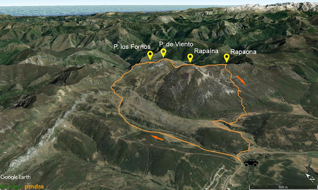 Mapa 3D de la ruta detallada a la Peña del Viento, los Fornos, Rapaina y Rapaona.