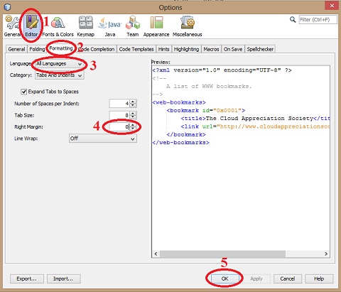 How to remove red vertical line in NetBeans editor