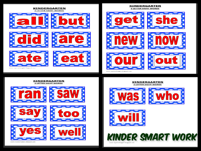KINDER SMART WORK 3 LETTER SIGHT WORDS
