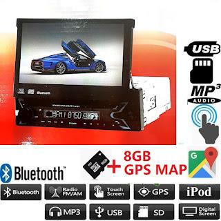 autoradio gps navigatore 1 din motorizzato  bluetooth
