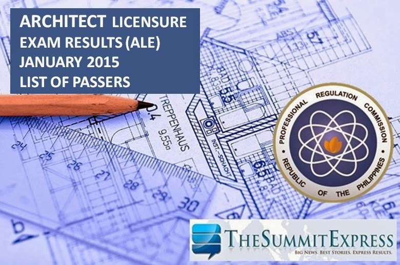 List of Passers: Architect board exam (ALE) results January 2015