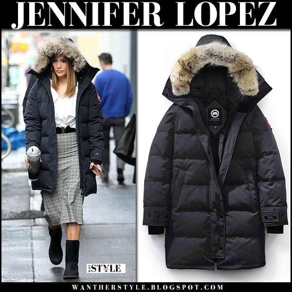 Jennifer Lopez in black puffer parka canada goose shelburne and black boots ugg amie street style december 14
