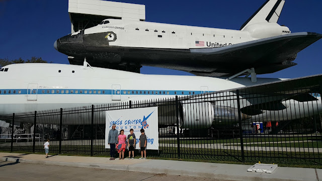 Shuttle replica with kids Space Center Houston