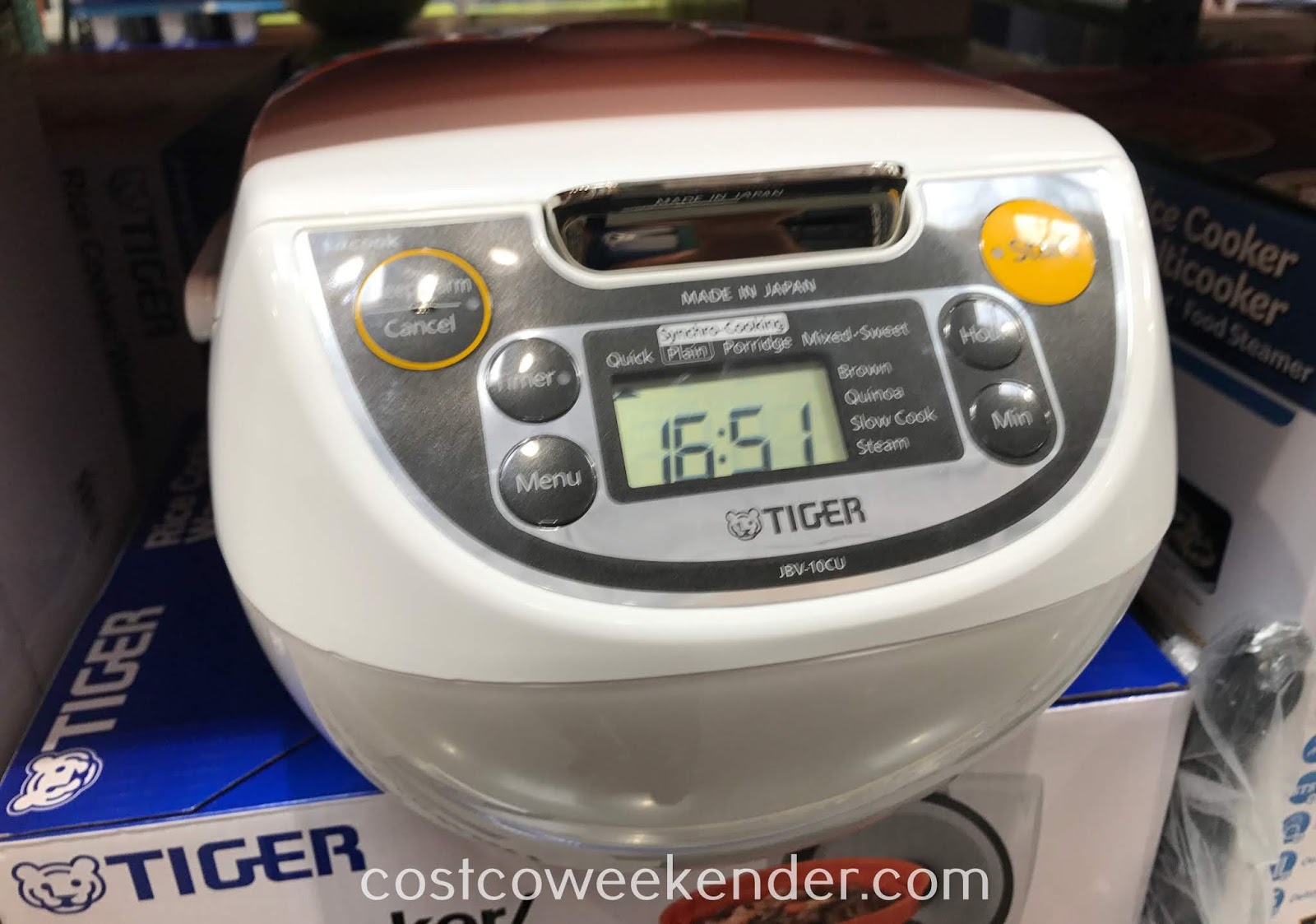 Costco 1198313 - Tiger Rice Cooker/Warmer can cook white/brown rice and has features to slow cook, steam, and warm