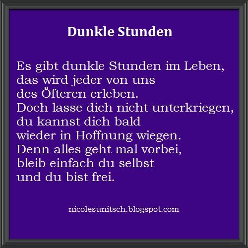 Gedichte Von Nicole Sunitsch Autorin Dunkle Stunden Gedicht