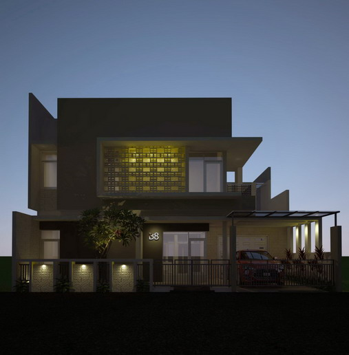 desain rumah minimalis 2 lantai tata lampu tampak depan
