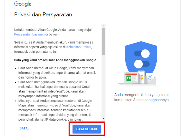 halaman Privacy and Term atau Privasi dan Persyaratan