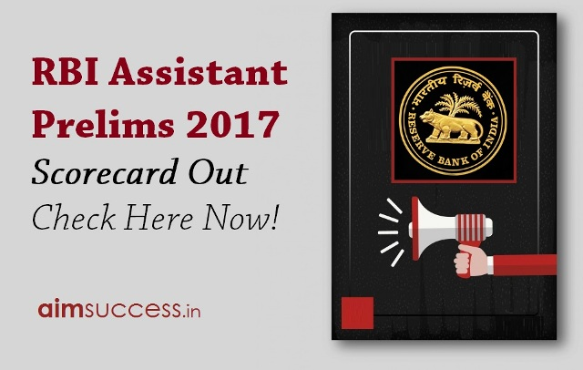 RBI Assistant Prelims 2017 Scorecard Out - Check Here Now