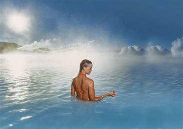woman bathing at the blue lagoon