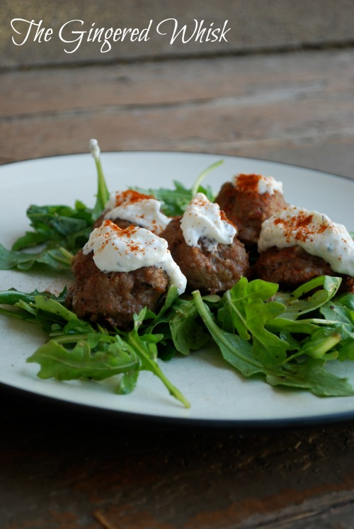 Greek Meatballs with Arugula Salad - The Gingered Whisk