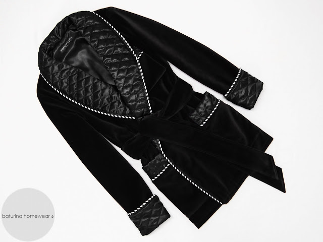 Men's black velvet smoking jacket gentleman's quilted silk robe dressing gown vintage luxury