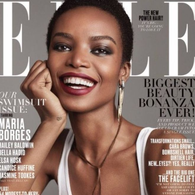 African supermodel Maria Borges on cover of Elle magazine