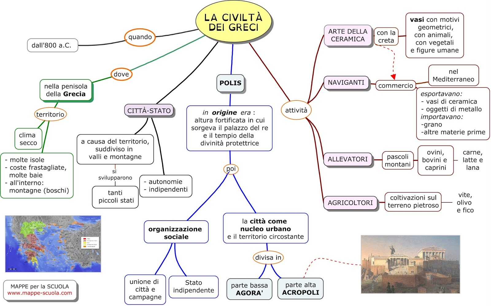 Mappe per la scuola la civilta 39 dei greci 1 for 1 case di storia