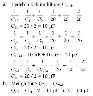 Menghitung muatan total kapasitor yang dirangkai gabungan