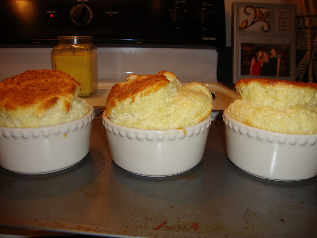 Ramekins Filled With Parmesan and Gruyere Cheese Soufflé