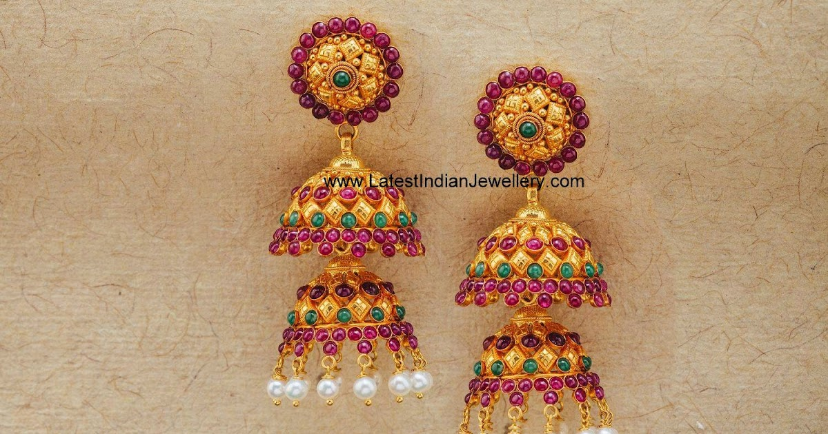 Double Step Latest Gold Jhumka