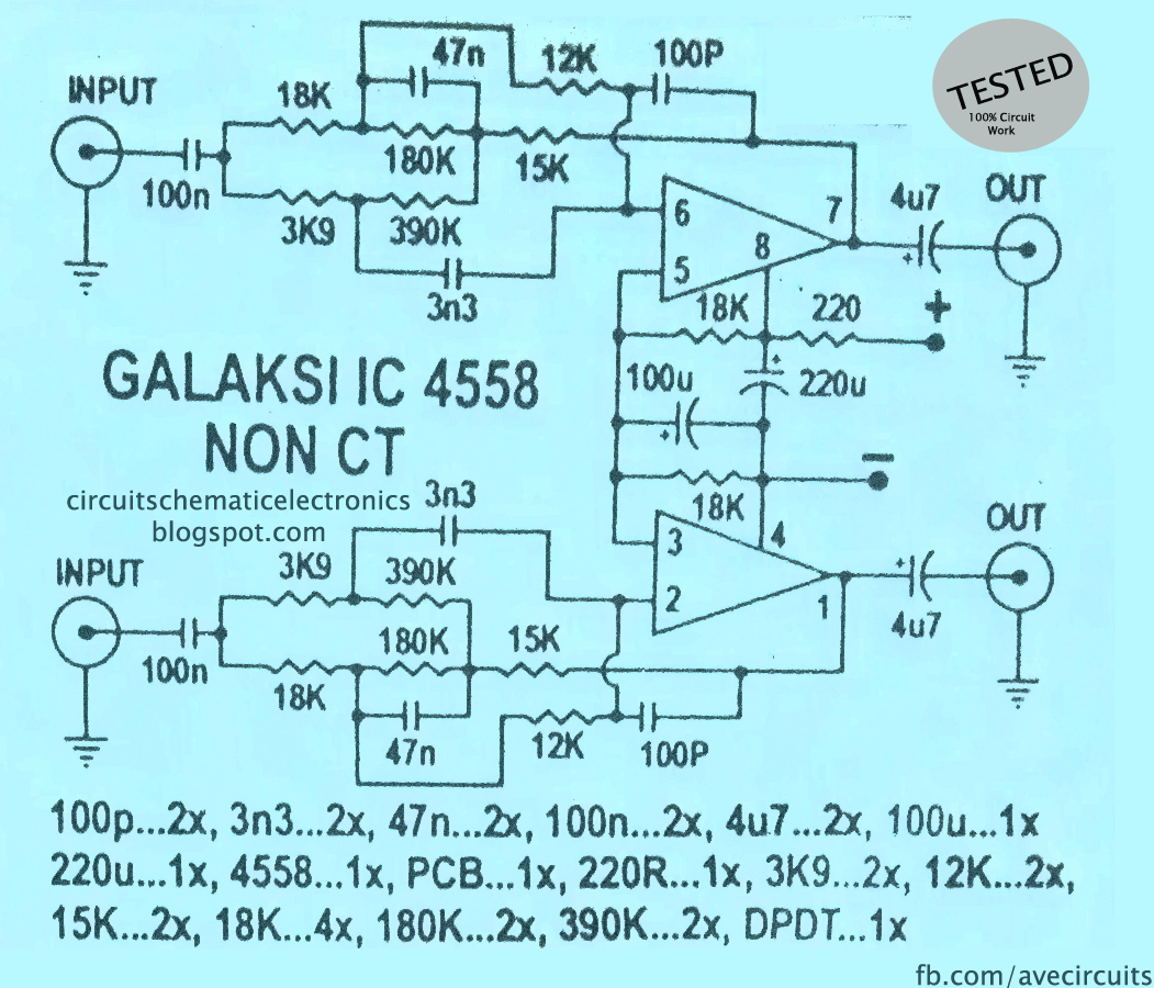 ic 4558 galaksi circuit electronic circuit rh elcircuit com JRC4558 Pre Amp Circuits IC 4558 Pin Layout