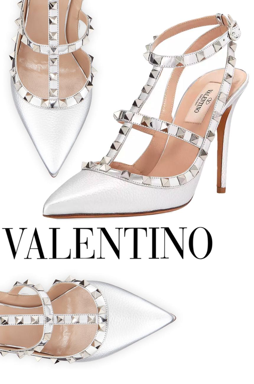 Valentino Garavani Rockstud Metallic Leather 100mm Pump Silvertone Hardware