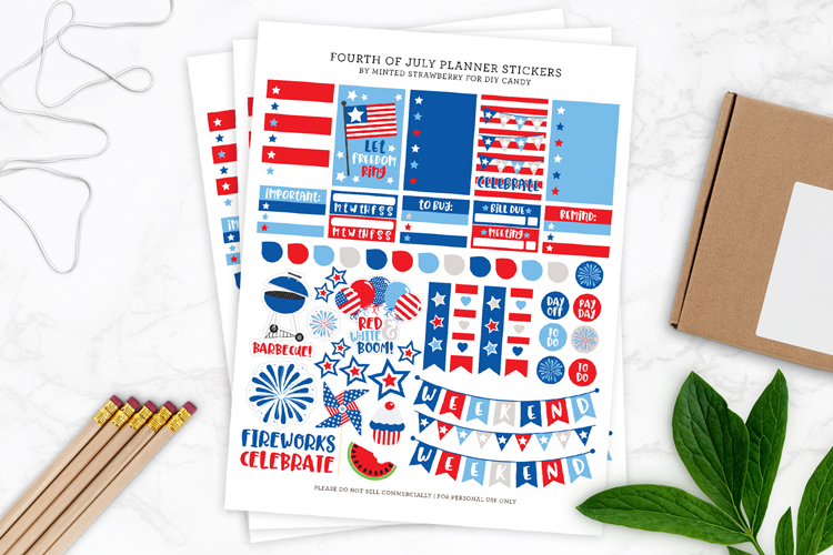 diy planner stickers fourth of july