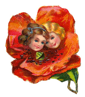 girls flower poppy image clipart old illustration crafting