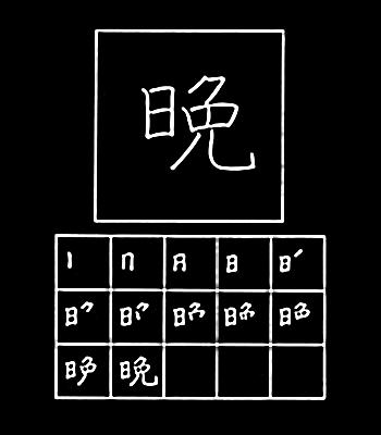kanji night, evening