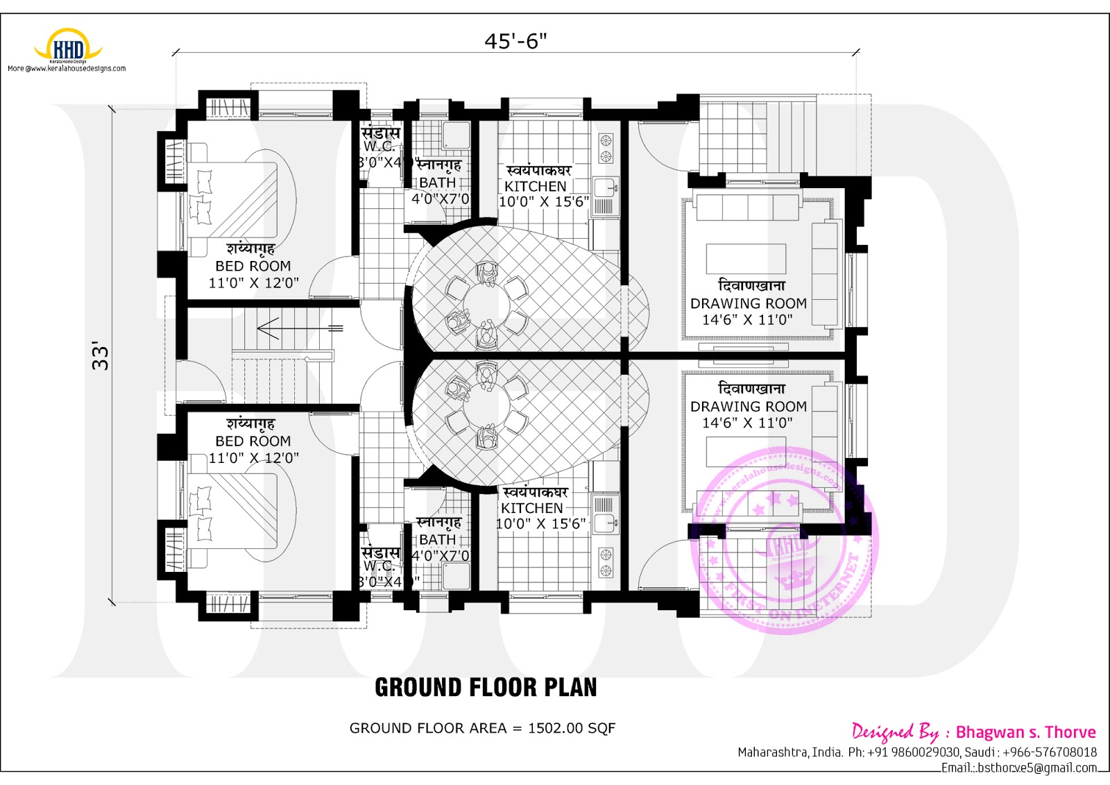 2 bedroom indian home design with plan kerala home for 2 bedroom ground floor plan