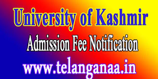 University of Kashmir B.Tech-2016 Admission Fee Notification