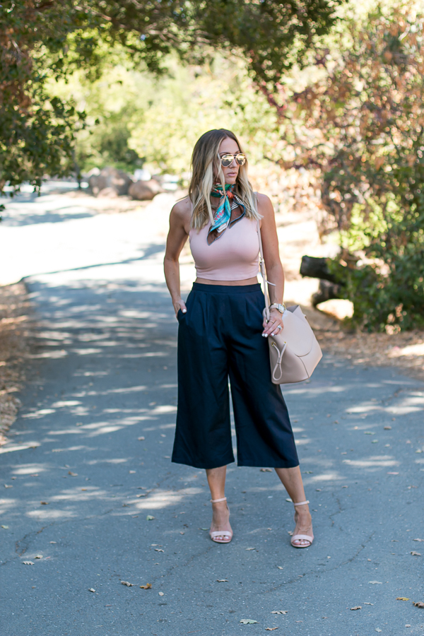 navy culottes blush crop top