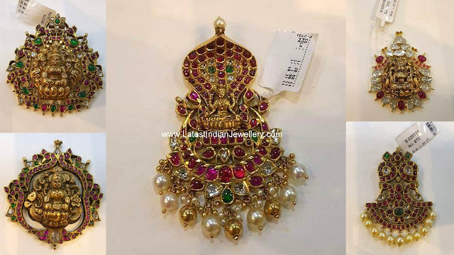 Antique Gold Ruby Emerald Pendants