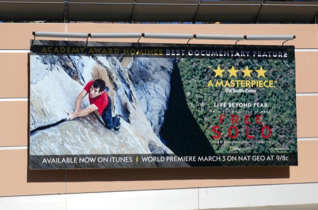 Free Solo Oscar documentary nominee billboard