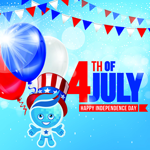 Mascot splash with an Independence Day top hot in front of a colorful red, white and blue poster with balloons and banners.  Text: Happy Independence Day!