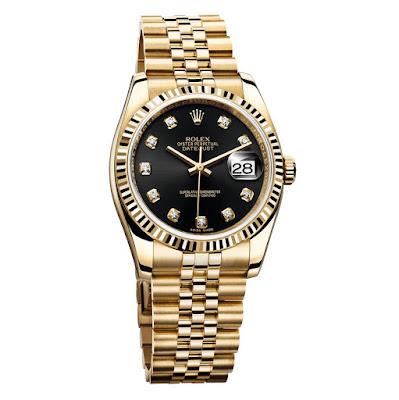 photo of rolex yellow gold datejust model 36mm case jubilee bracelet diamond hour markers ref 116238