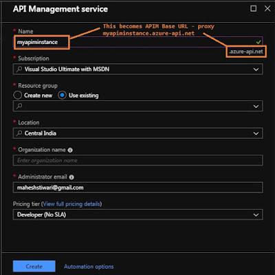 creating APIM Instance